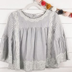 ZARA • Striped Lace Bell Sleeve Cropped Blouse